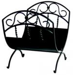 View: Black Wrought Iron Log Holder Uniflame w-1035