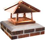 "View: 18 x 18"" Copper Designer Lid Chimney Cap - cpsbd18x18"