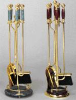 View: Brass with Cherry Wood Handles Fireplace Tools ON RIGHT