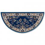 "View: 56"" Wide Blue Half Round Wool Hearth Rug H-33"